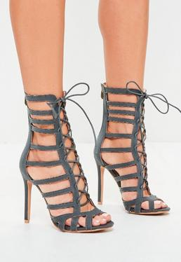 Grey Calf Height Lace Up Gladiator Heels