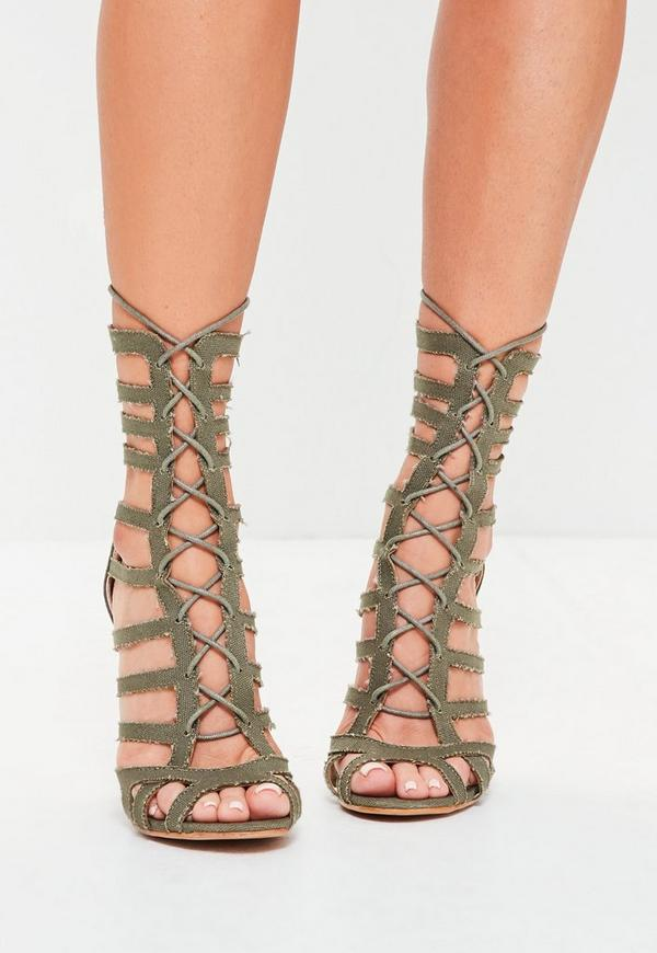 Khaki Calf Height Lace Up Gladiator Heels