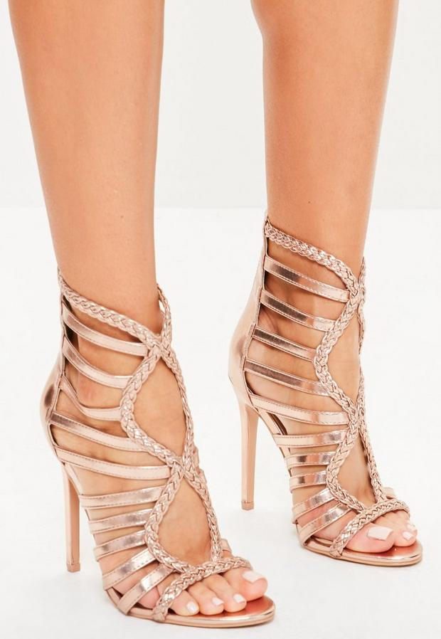 Rose Gold Plaited Multi Strap Gladiator Heels, Red