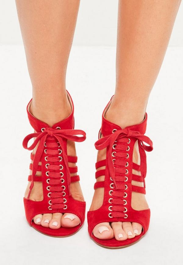 Red Lace Up Cut Out Ankle Gladiator Heel   Missguided