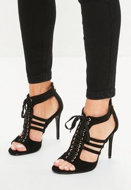 Black Lace Up Cut Out Ankle Gladiator Heels