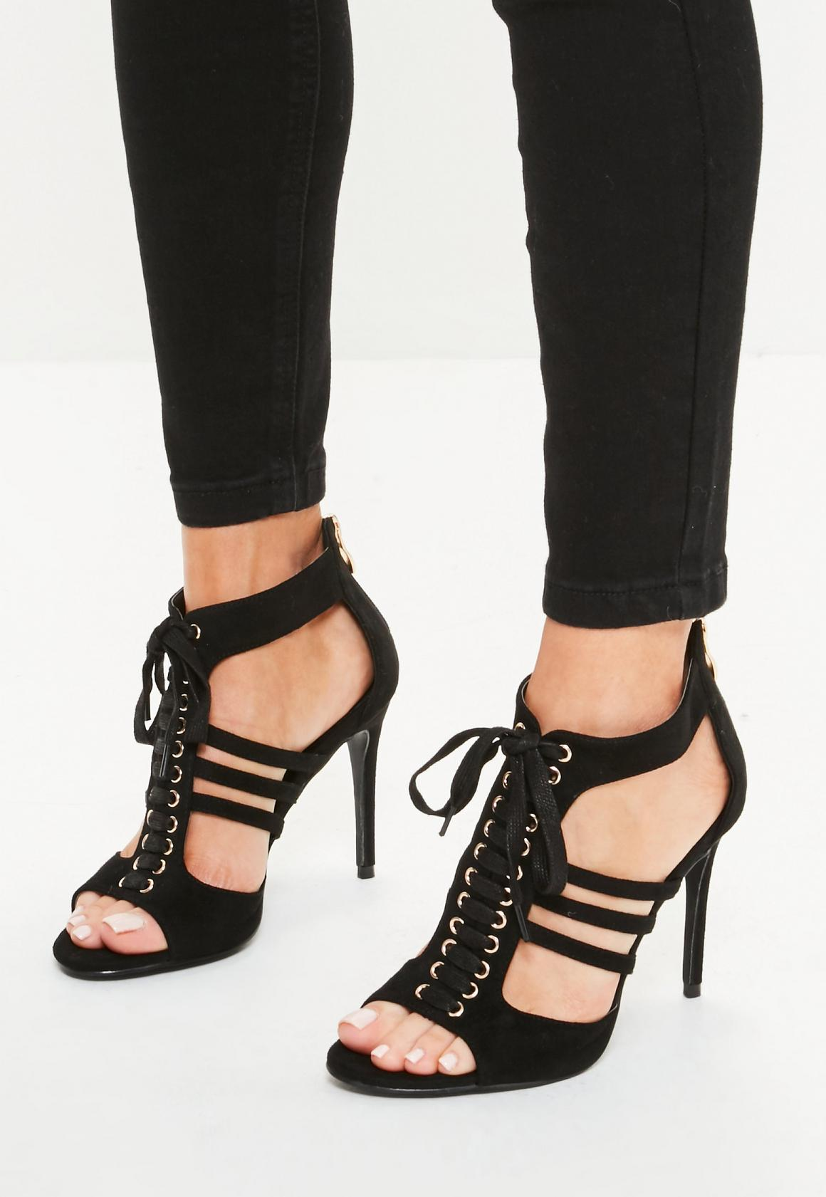 Black Lace Up Cut Out Ankle Gladiator Heels | Missguided