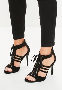 Czarne wiązane sandały na szpilce
