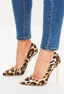 Escarpins pointus dorés imprimé léopard