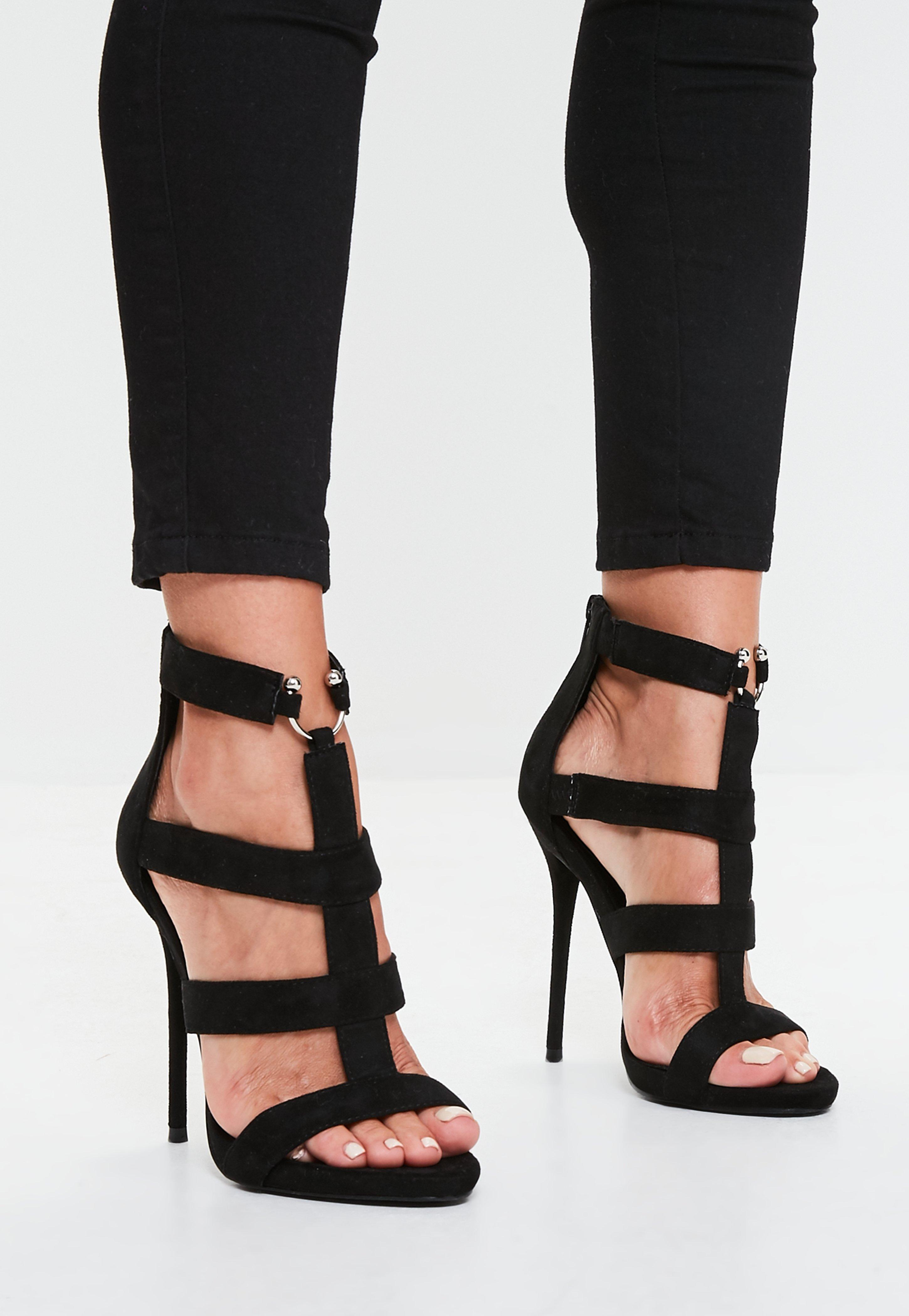 Black Bullring Gladiator Strappy Heeled Sandal | Missguided