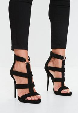 Black Bullring Gladiator Strappy Heeled Sandal