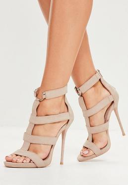 Beżowe sandały szpilki gladiatorki z ozdobnym metalowym łączeniem
