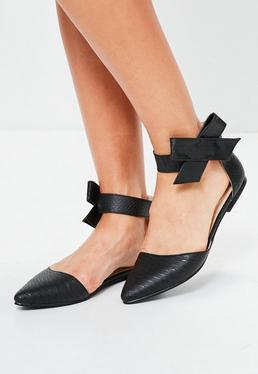 Black Bow Side Pointed Flat Shoes