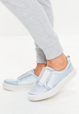 Grey Satin Slip On Trainers