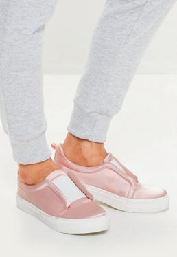 Pink Satin Slip On Trainers