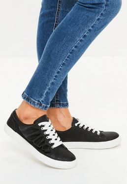 Black Ruffle Side Lace Up Sneakers