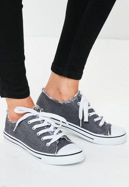 Grey Frayed Top Lace Up Sneakers