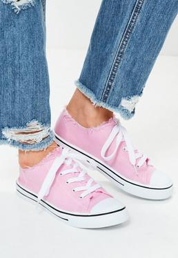 Pink Frayed Top Lace Up Sneakers