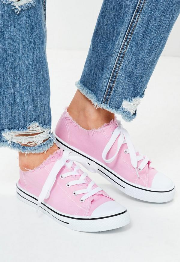Pink Frayed Top Lace Up Trainers