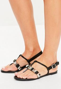Black Studded T Bar Sandals