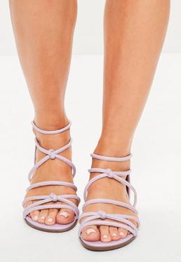Schnür-Sandalen in Lila