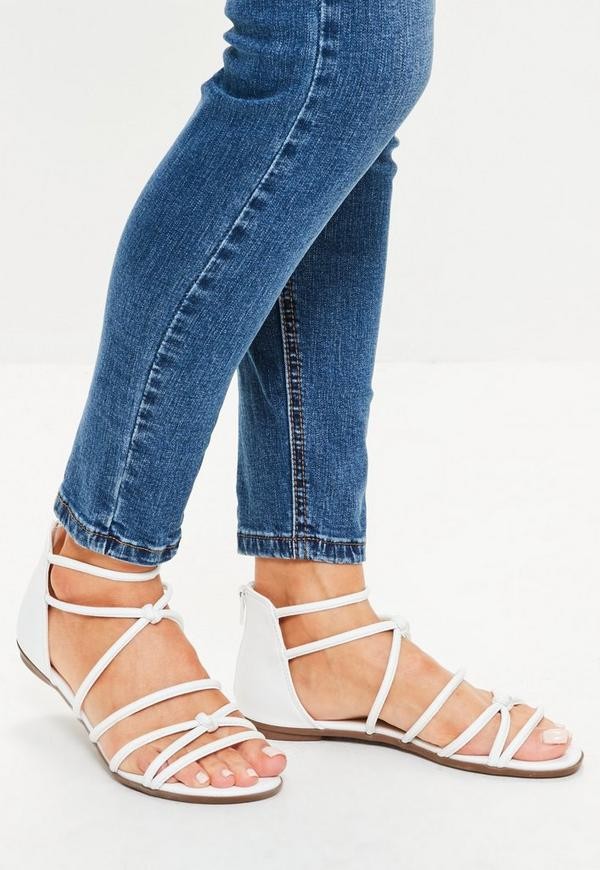 White Tubular Strap Sandals
