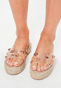 Clear Perspex Cross Strap Studded Platforms