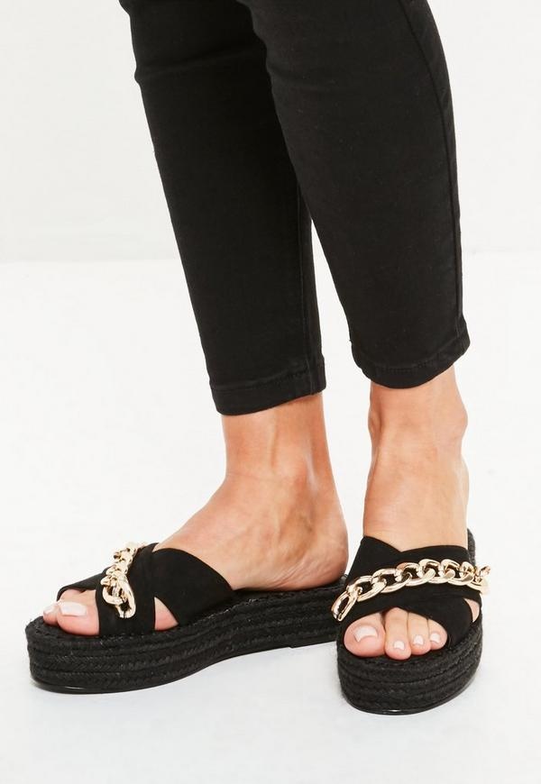 Black Chain Cross Strap Studded Flatforms