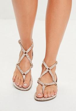 Nude Harness Strap Snake Print Flat Sandals