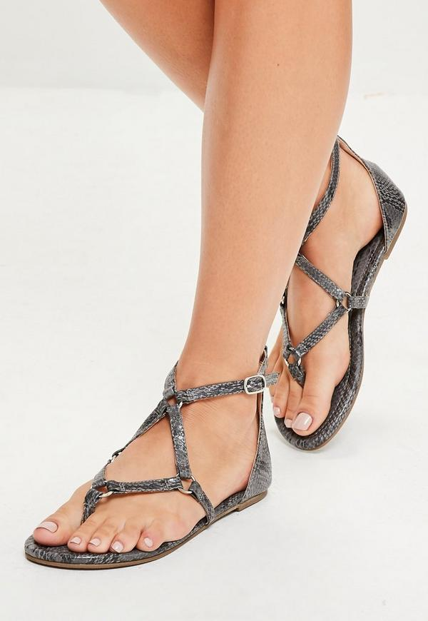 Grey Harness Strap Snake Print Flat Sandals