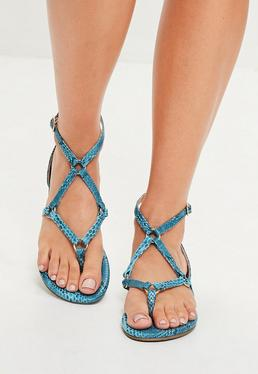 Blue Harness Strap Snake Print Flat Sandals