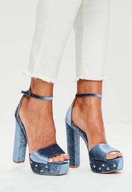 Sandales à talons plateforme bleues en velours