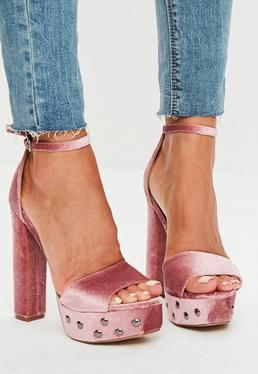 Pink Velvet Platform Sandals