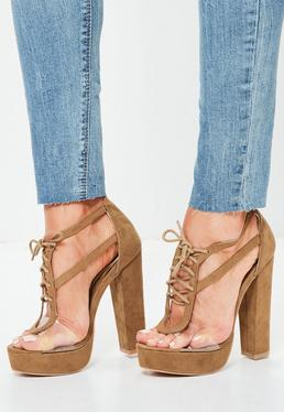 Tan Clear Panel Lace Up Platforms