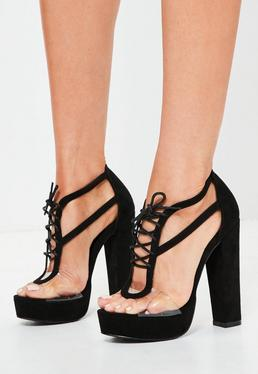 Black Perspex Panel Lace Up Platforms