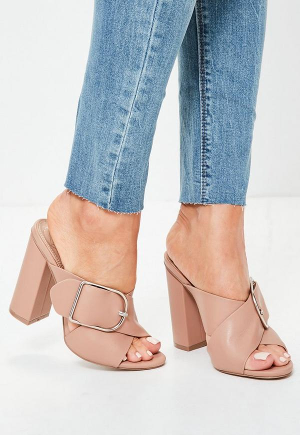 Nude Large Buckle Cross Vamp Heeled Mule