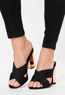 Black Cross Strap Heels Mule Sandals