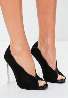 Black Clear Heel Peep toe Court Shoes