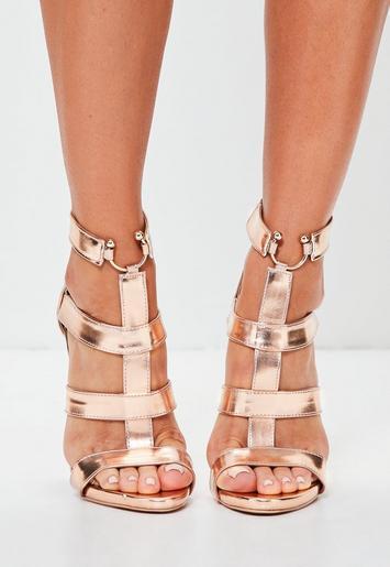Rose Gold Bullring Gladiator Strappy Heeled Sandals