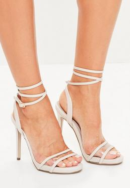 Nude Clear Strap Ankle Tie Sandals
