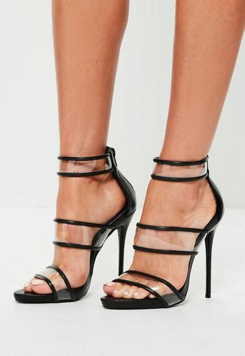 black strappy clear high heel sandals missguided australia. Black Bedroom Furniture Sets. Home Design Ideas