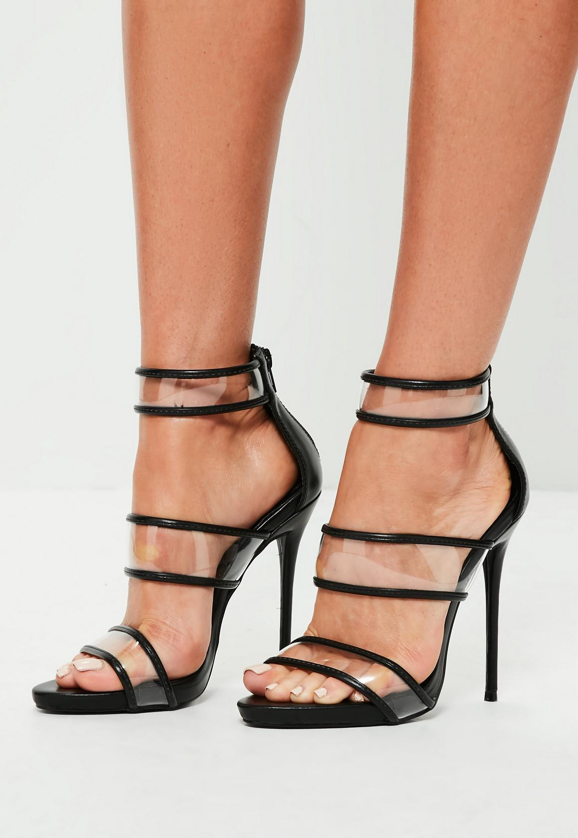 Black Strappy Clear High Heel Sandals | Missguided