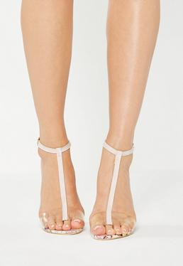Różowe sandały w kształcie T na klocku z efektem marmuru