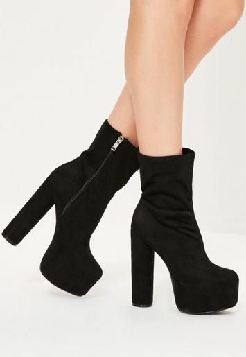 Black Chunky Heeled Shoes Leather