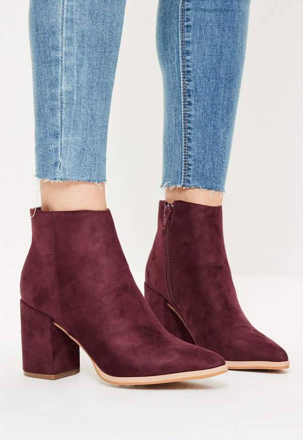 Purple Pointed Toe Ankle Boots