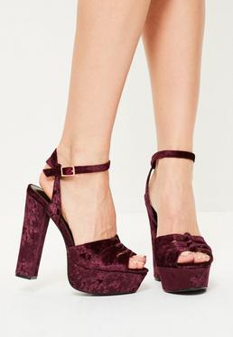 Purple Velvet Cut Out Platform Heeled Sandals