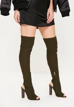 Khaki Peep Toe Thigh High Boots