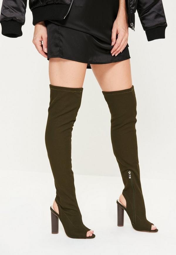Khaki Peep Toe Thigh High Boots