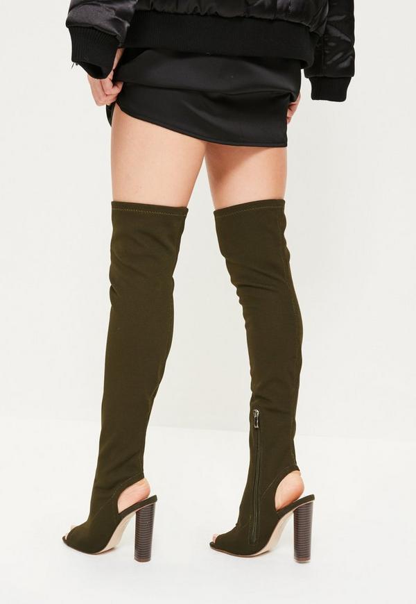khaki peep toe thigh high boots missguided