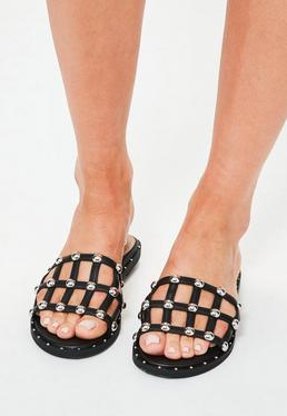 Black Criss Cross Stud Mule Sandals