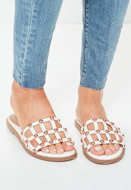White Criss Cross Stud Mule Sandals