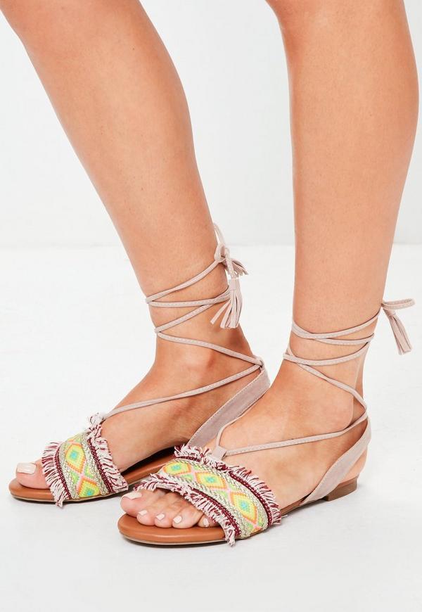 Green Aztec Print Ankle Tie Sandals