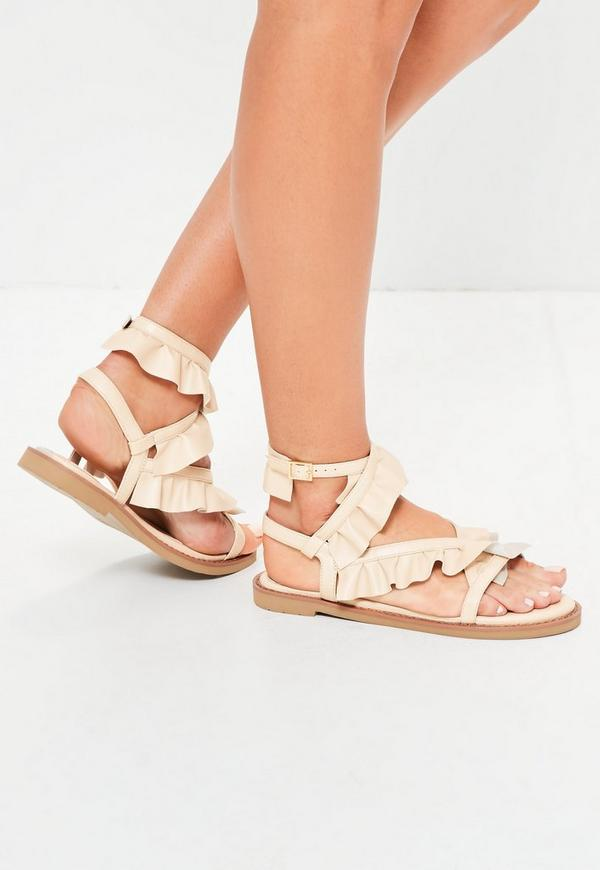 Nude Ruffle Ankle Tie Sandals