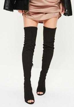 Black Peep Toe Thigh High Heeled Boots