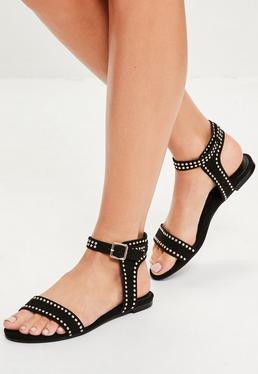 Black Studded Buckle Back Flat Sandals